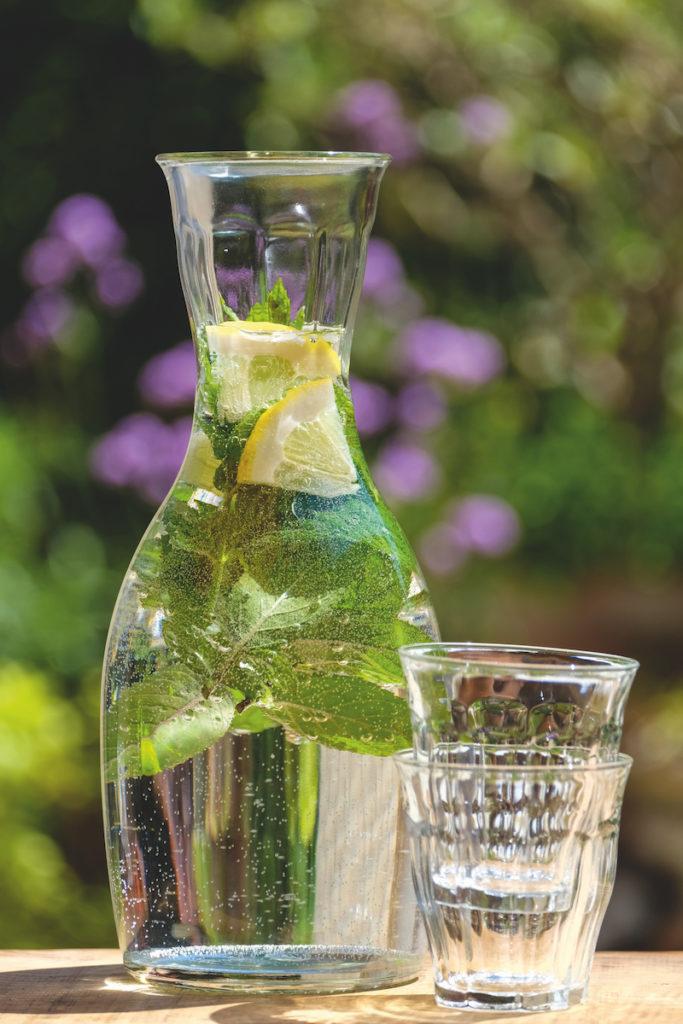 Karaffe mit aromatisiertem Kräuter-Wasser